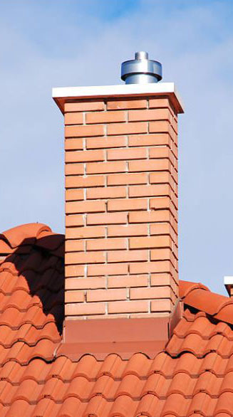 chimney cap on brick chimney