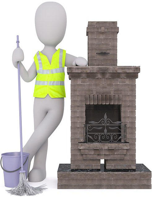 preparing to clean a dirty chimney