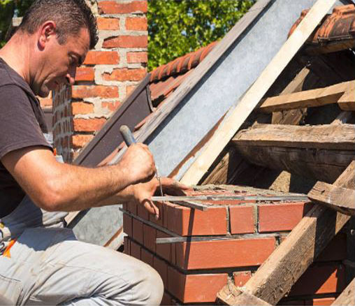 Chimney truckpointing repair